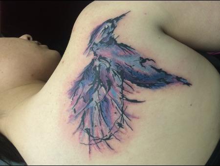 Watercolor Tattoo  Watercolor Hummingbird Color Shoulder