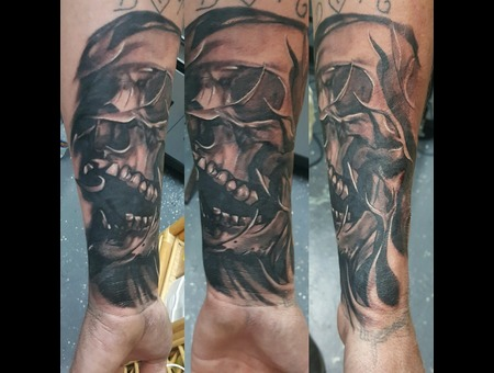 Blackngrey Tattoos  Dark Tattoos  Realistic Tattoos Black Grey Forearm