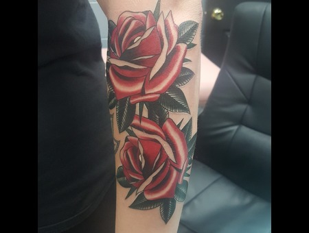 Traditional Tattoos  Color  Rose Tattoos Color Forearm