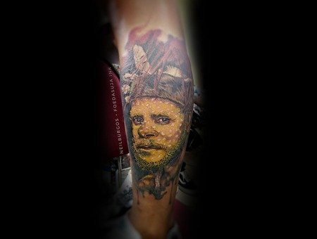 Native  Papua  Colored Tattoo  Cebu  Philippines  Portrait  Neil Burgos Color Lower Leg
