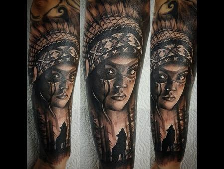 Indian Girl Tattoo Black Grey Forearm