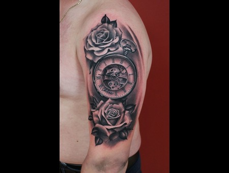 Roses  Pocket Watch   Black Grey Arm
