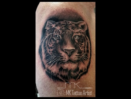 Realistic  Tattoo  Tiger  Portrait Black Grey Arm