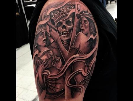 Skull And Crown Tattoo   Black Grey Shoulder