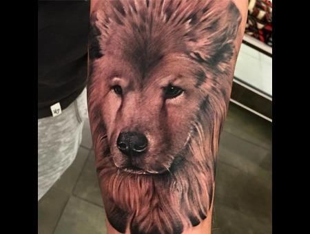 Dog Portrait Tattoo Black Grey Forearm