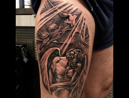 Angel Tattoo Black Grey Thigh
