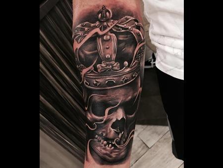 Skull Tattoo  Skull And Crown Tattoo Black Grey Forearm