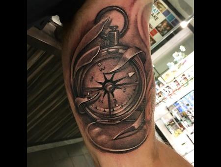 Compass Tattoo  Black Grey Arm