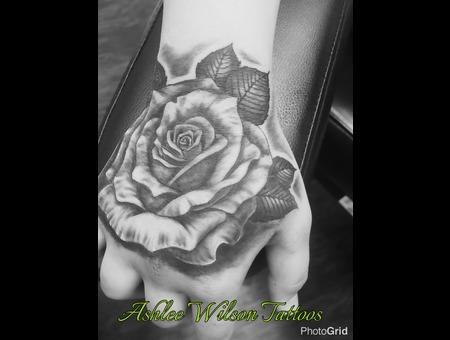 Hand Tattoo  Realism Rose Tattoo  Rose Tattoos  Black And Grey Tattoo  Black Grey Forearm