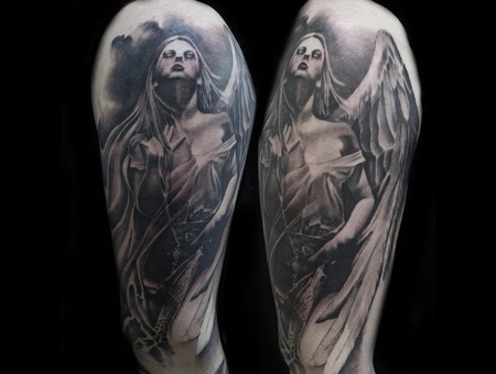 Blackandgrey  Dark  Darkart  Morbid  Gothic  Angel Black Grey Arm