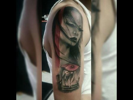 #Tattoo #Ink #Dövme #Geisha #Japanese #Blackandgray Black Grey Arm