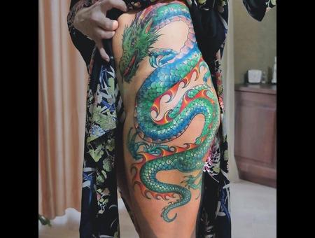 Mobi Varlamov Tattooartist Proteam Dragon Color Japanese Thigh Tattoo Color Thigh