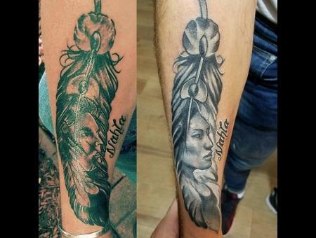 Coverup Nativeamerican Native Feather Portrait  Black Grey Arm
