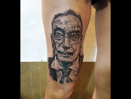Dali Salvador Artist Painter Realistic Realism Besttattoo Toptattoo Artist  Black Grey Thigh