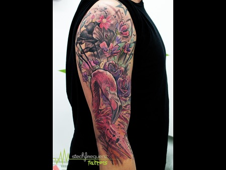Flamingo  Flowers  Roses  Abstract  Trash  Colors  Sketch Color Arm
