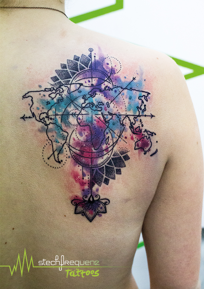 Browse worlds largest tattoo image gallery trueartists world map mandala dotwork watercolor abstract compass shoulder gumiabroncs Gallery