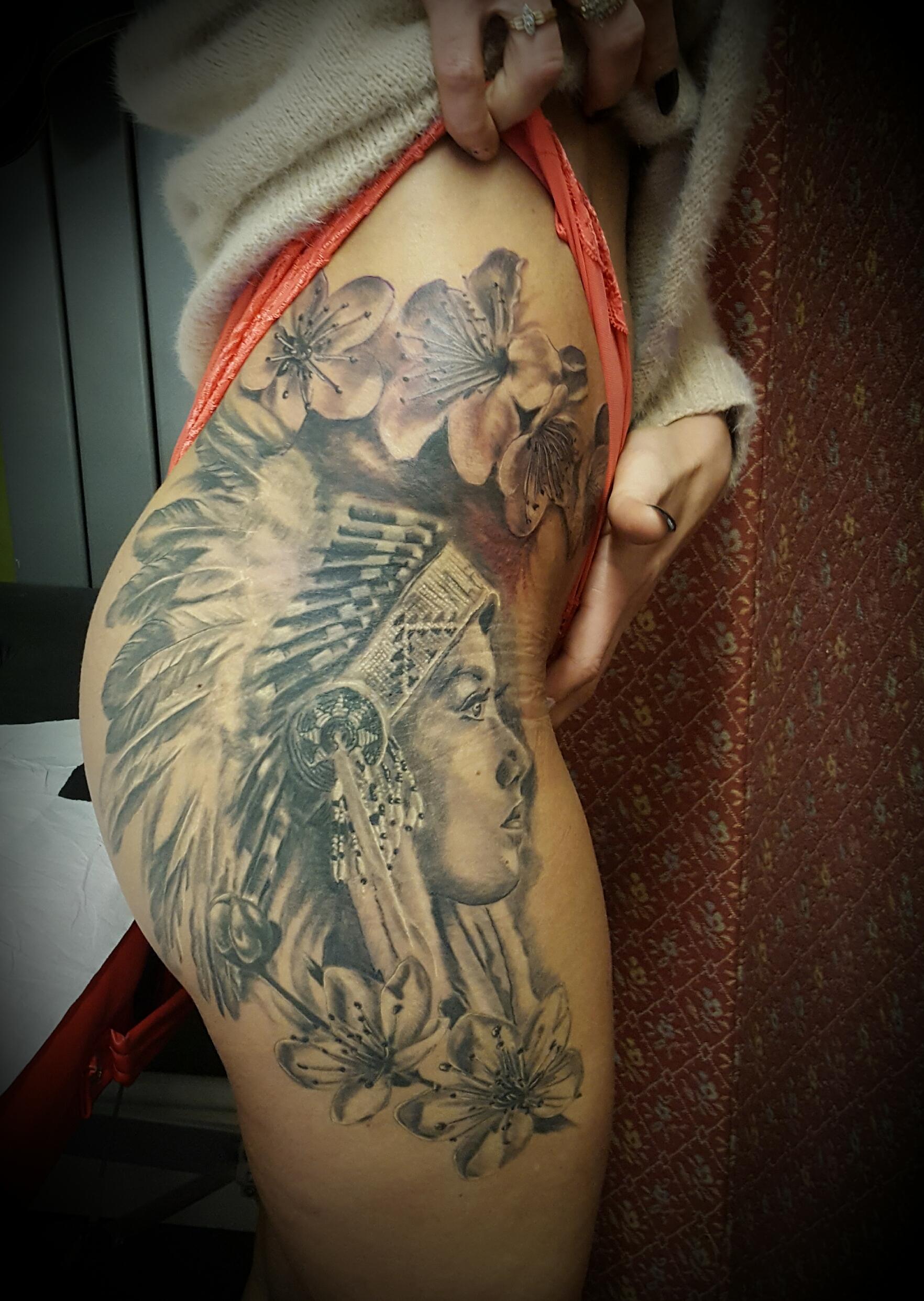 a84f4002954fa Native American Woman. Black And Grey. Flowers. Sakura Flowers Black Grey  Hip