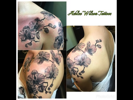 Orchid Tattoo  Black And Grey Tattoo Black Grey Shoulder
