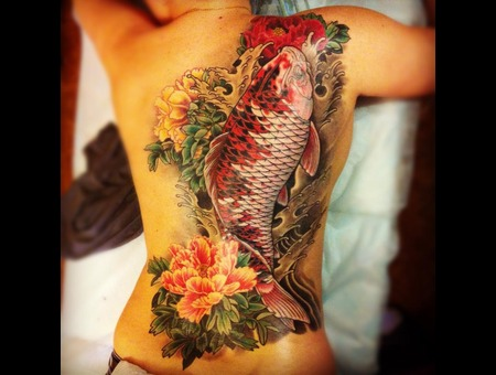 Back  Japanese  Koi  Peony Color
