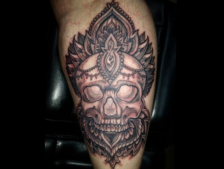 Black And Grey  Black And Gray  Skull  Sacred Geometry  Black Grey Lower Leg