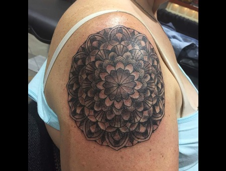 Black And Grey  Black And Gray  Mandala  Pointillism  Dot Work  Blackwork Black Grey Shoulder