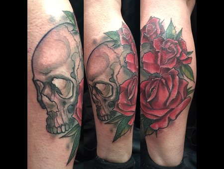 Colour  Skull  Roses  Neo Traditional  Bold  Beautiful Color Lower Leg