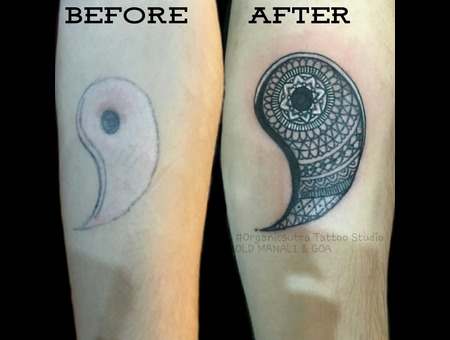 Cover Up  Yin Yang Black Grey Forearm