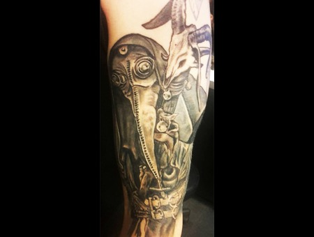 Plague  Doctor  Plague Doctor Black Grey Arm
