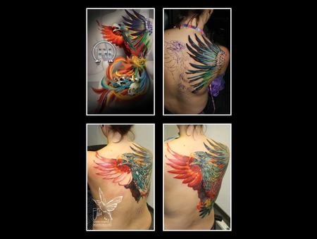 Progress  Phoenix  Backpiece  Making Of  Bird  Painted  Painting Color Back