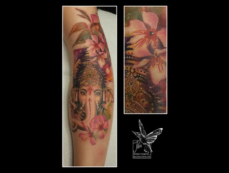 Ganesa  Indian  God  Hindu  Cherryblossom  Blosson  Flowers  Painted  Color Forearm