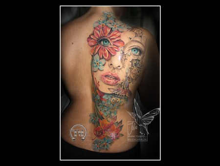 Face  Woman  Flowers  Clockwork  Clock  Hummingbird  Sadness  Happiness Color Back