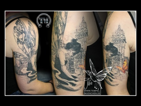 Elf  Fairy  Butterfly  Burned City  Fire  Smoke  Sadness Black Grey Arm