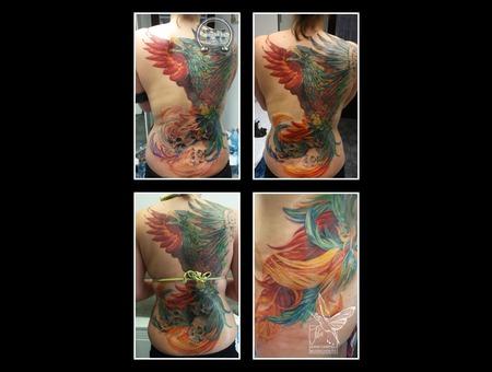Phoenix  Skull  Backpiece  Progress  Featers  Color Back