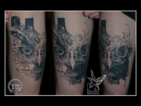 Healed  Owl  Watercolor  Skull  Bird  Abstract  Black Grey Thigh