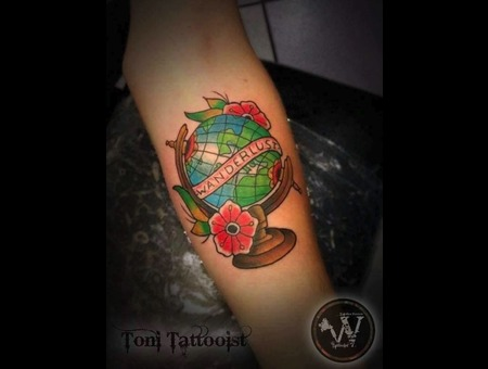 Cool Tatt I Loved Doing On A Client That Loves Traveling  Color Forearm