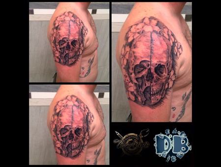 Black And Grey  Skull Black Grey Arm