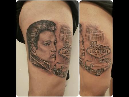 Elvis  Elvispresley  Cadillac  Lasvegas Black Grey Thigh