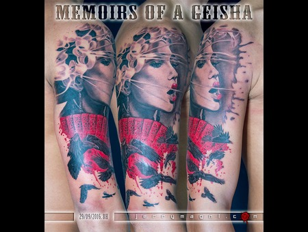 Portrait  Geisha  Crow  Flowers  Black Grey Arm