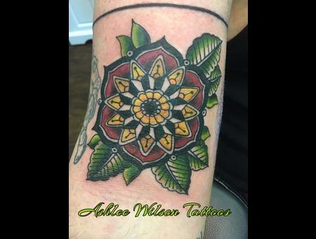 Mandala Tattoo  Traditional Tattoo  Oldschool Tattoo  Mandala Flower Tattoo Color Arm