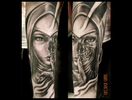 Nun Portrait  Mummy  Skull Black Grey