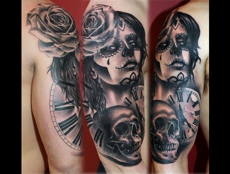 Day Of The Dead  Rose  Skull  Clock  Black Grey Arm