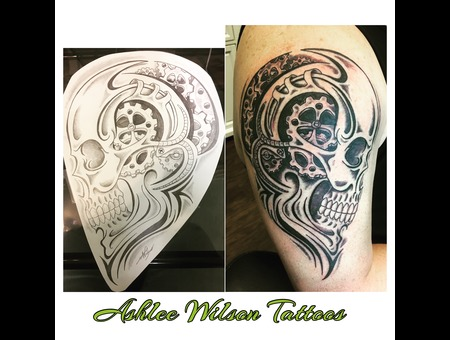 Black And Grey Tattoo  Skull Tattoo  Gear Tattoo  Tribal Tattoo.  Black Grey Arm