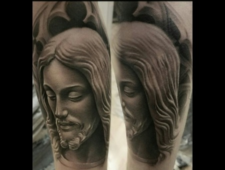 Jesus  Black And Grey  Realism Black Grey Forearm