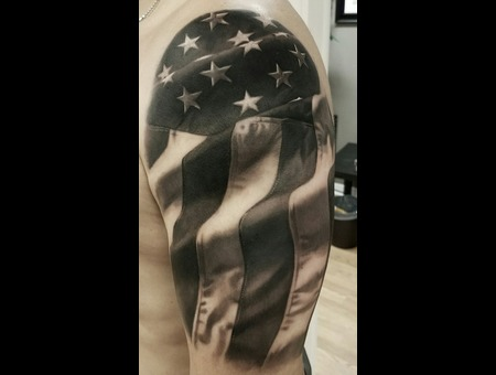 Black And Grey  Realism  American Flag Black Grey Arm