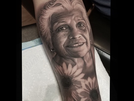 Portrait   Black And Grey   Realism  Black Grey Forearm
