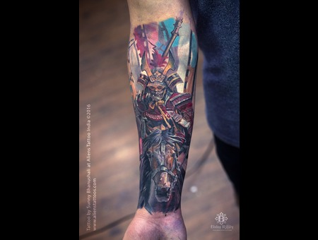 Realism Tattoo  Horse Tattoo  Warrior Tattoo  Japanese Warrior Color Forearm