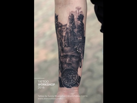 Mayan Tattoo  Tribe Tattoo  Portrait Tattoo  Realism Tattoo  Double Exposur Black Grey Forearm