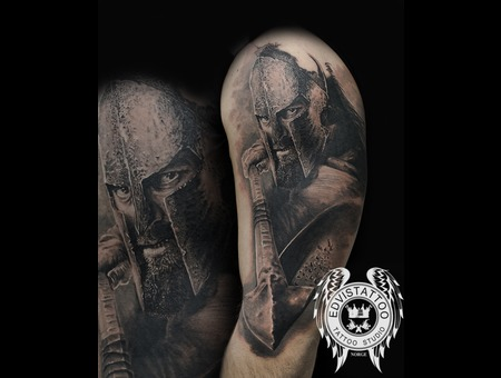 Sparta  300 Warrior  Realistic Tattoo  Sparta Portrait Black Grey Shoulder
