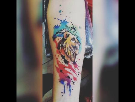 #Tattoo #Dövme #Watercolor #Lion  Color Arm
