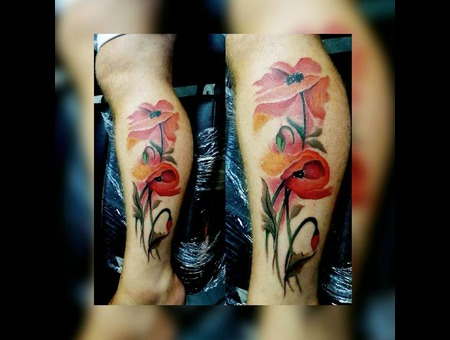 #Tattoo #Dövme #Watercolor #Tulips  Color Lower Leg